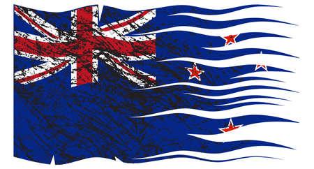 new zealand flag: Un disegno della bandiera della Nuova Zelanda ondulati e grunged isolato su uno sfondo bianco
