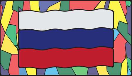 symbolics: A Russia flag design on a stained glass window Illustration