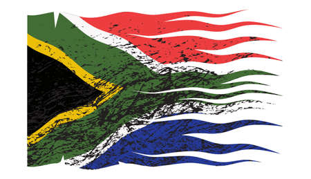 grunged: A South Africa flag design grunged, torn and isolated on a white background Illustration