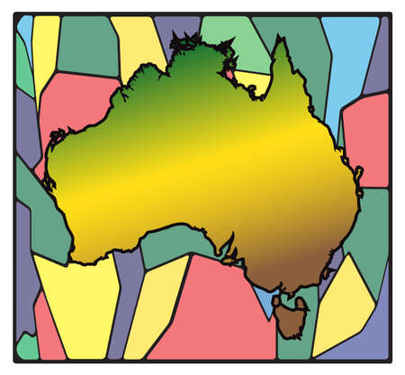 oceana: An Australian map on a stained glass window design Isolated on a white background