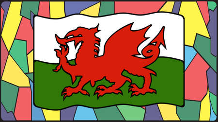 welsh: A Welsh flag on a stained glass window design Illustration