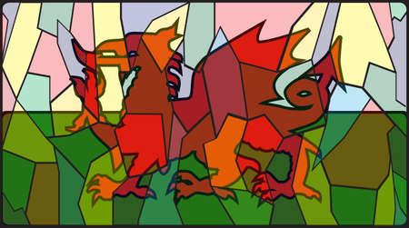 welsh flag: A Welsh flag on a stained glass window design Illustration