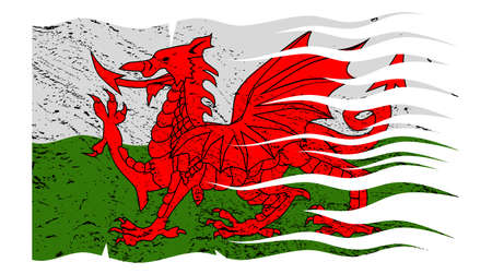 welsh flag: Un ondulato grunged disegno bandiera gallese isolato su uno sfondo bianco