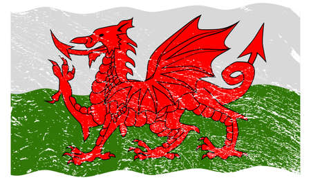 welsh: A wavy grunged Welsh flag design isolated on a white background