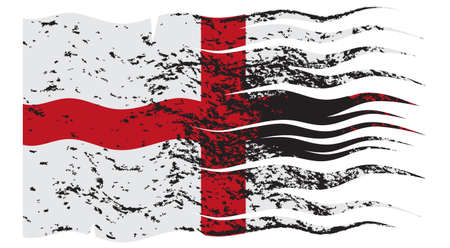 A wavy and grunged England flag design on white background