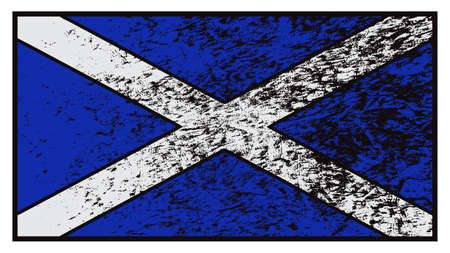 grunged: A grunged Scotland flag design isolated on a white background
