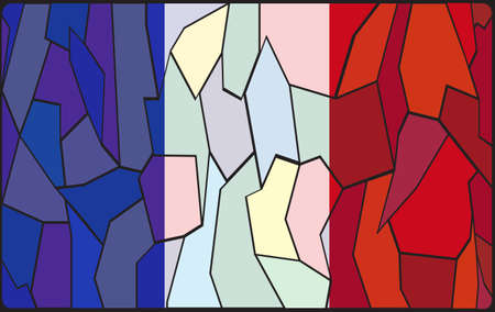 french flag: A French flag design on a stained glass window Illustration