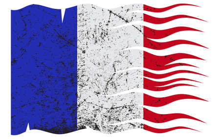 grunged: A wavy grunged French flag design on white background Illustration