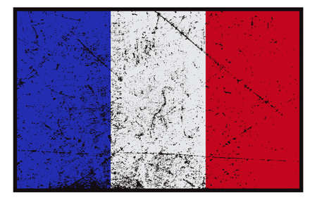 grunged: A grunged French flag design isolated on white background