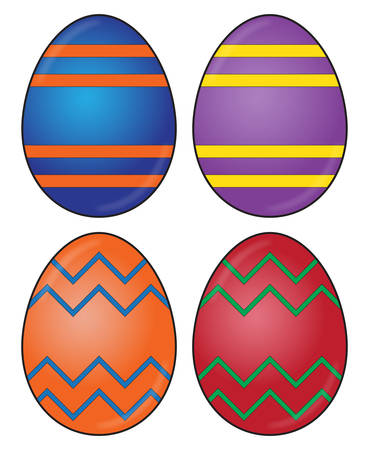 A selection of differently decorated easter eggs isolated on a white background