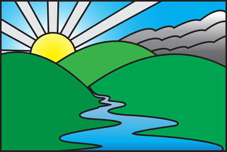 mountain scene: A sunrise over a mountain scene with a river on stained glass
