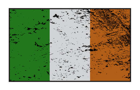 ireland flag: A grunged Ireland flag design on a white background