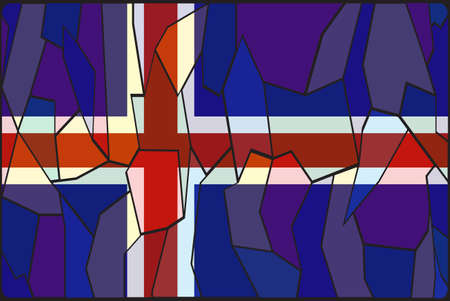 iceland flag: An Iceland flag stained glass window design