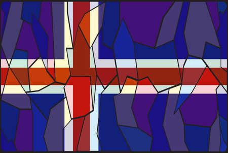 flag of iceland: Un dise�o de la ventana de cristal de la bandera de Islandia manchado