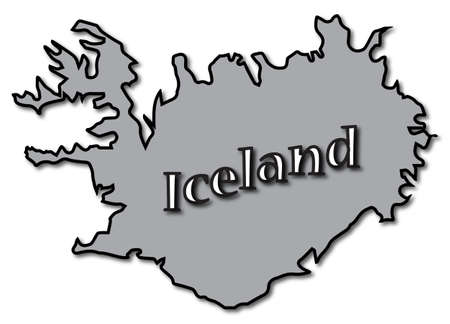 dull: An Iceland map with text and a shadow isolated on a white background Illustration
