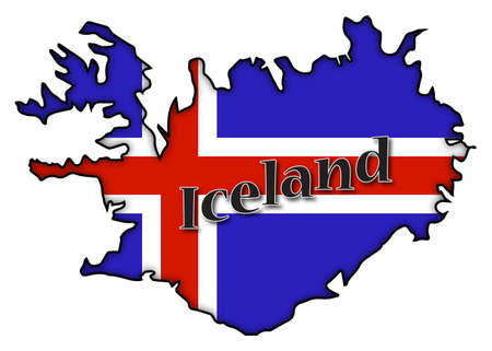 iceland flag: An Iceland flag on a map with text and a shadow isolated on a white background Illustration