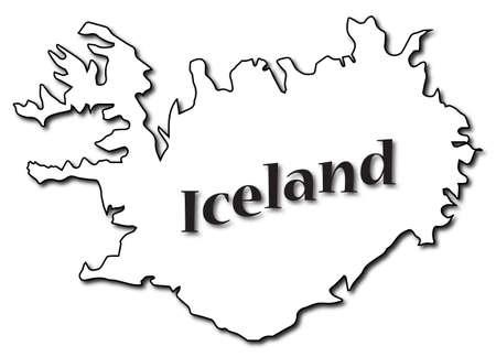 텍스트와 흰 배경에 고립 된 그림자 아이슬란드지도
