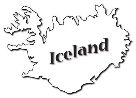 An Iceland map with text and a shadow isolated on a white background Ilustração
