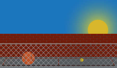 patio escuela: Un patio vac�o al atardecer con un muro, valla y bolas