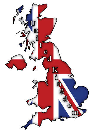 british isles: A UK flag on a UK map isolated on a white background