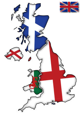 british isles: UK flags on their individual country outlines on a white background