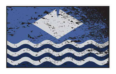 grunged: A Grunged Isle of Wight flag design isolated on a white background