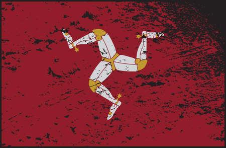 A grunged Isle Of Man flag design