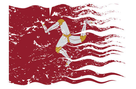 A wavy and grunged Isle Of Man flag design isolated on a white background