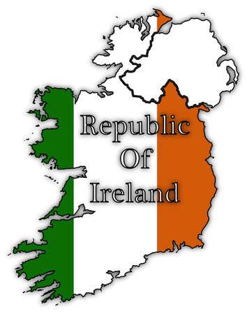 republic of ireland: Republic of Ireland flag in map isolated on a white background Illustration