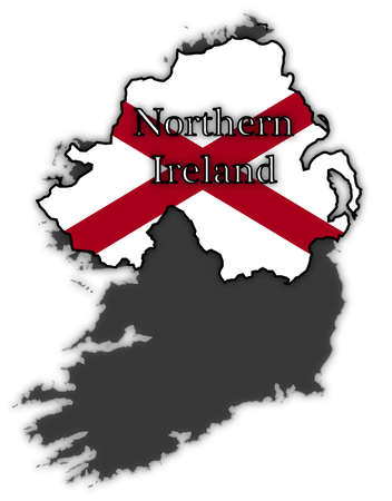 ireland flag: Northern Ireland flag in map isolated on a white background
