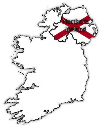 irish map: Northern Ireland flag in map isolated on a white background