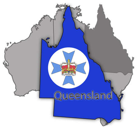 oceana: A Queensland map and seal on Australia isolated on a white background