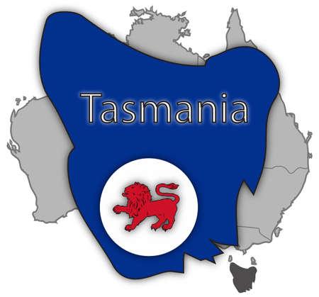 tasmania: A Tasmania map and flag isolated on a white background Illustration