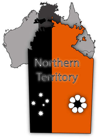oceana: An Australian Northern Territory map and flag isolated on a white background Illustration