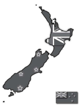 oceania: A grey New Zealand map with a flag design inside isolated on a white background