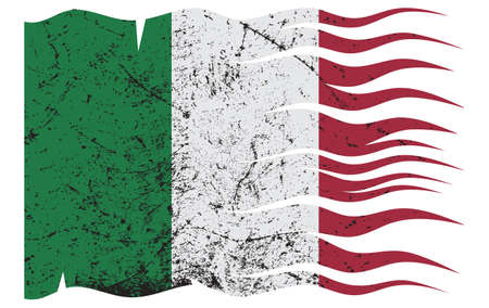 grunged: A wavy grunged Italian flag design on white background
