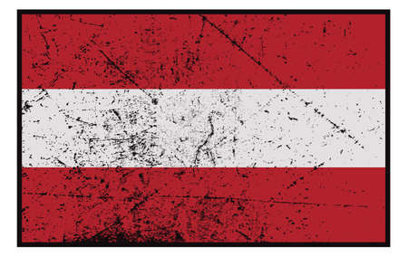 grunged: A grunged Austrian flag design isolated on white background