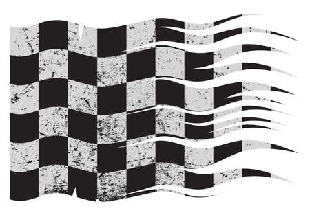 A wavy and grunged Checkered flag design isolated on white background Vectores