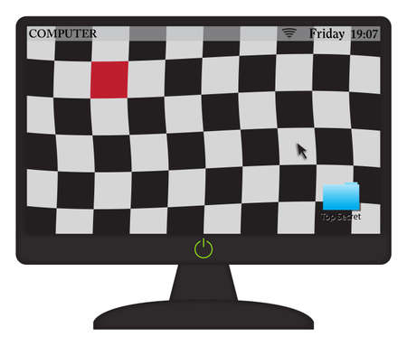 checker flag: A Wavy Checkered flag on a computer screen with an on button isolated on a white background