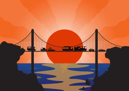 suspension bridge: A convoy of many holiday vehicles on a suspension bridge at sunset over the ocean