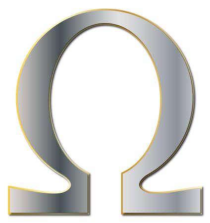 Een Omega symbool in zilver en goud geïsoleerd op een witte achtergrond