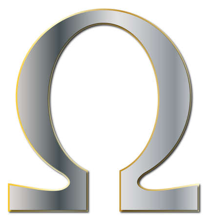 An Omega symbol in silver and gold isolated on a white background Illustration