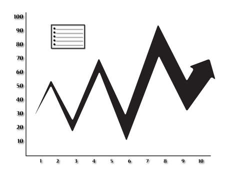 inconsistent: A graph showing inconsistent growth with a big arrow isolated on a white background