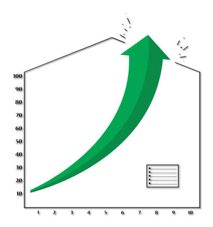 A graph showing positive growth with a big green arrow crashing through a roof isolated on a white background