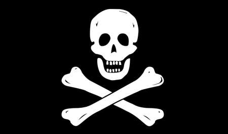 raise the white flag: A pirate flag design isolated on a black background