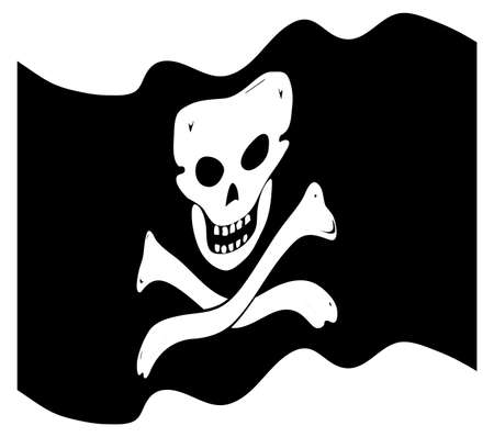 raise the white flag: A wavy pirate flag design isolated on a white background Illustration