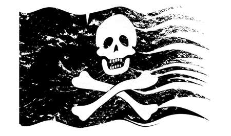 intimidate: A wavy  grunged pirate flag design isolated on a white background