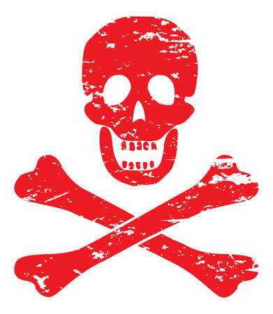 intimidate: A skull and crossbone design isolated on a white background