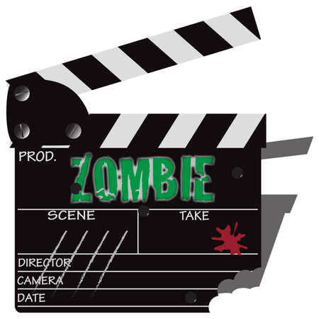 cinema screen: A directors zombie clapper board isolated on a white background