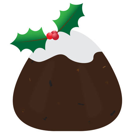 A traditional Christmas pudding isolated on a white background